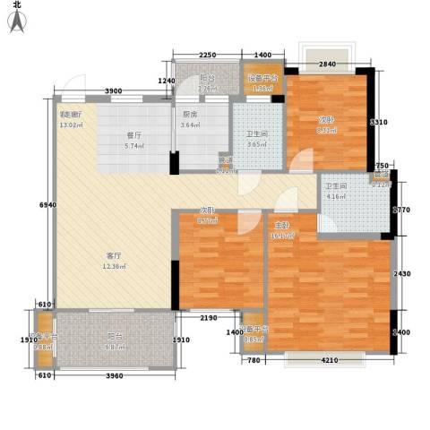 朱桦楼3室1厅2卫1厨123.00㎡户型图