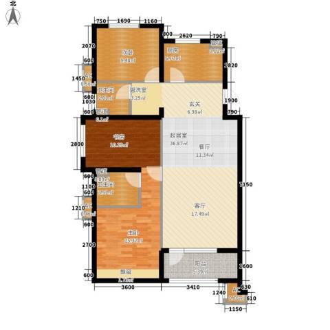金地长青湾・丹陛2室0厅2卫1厨104.33㎡户型图