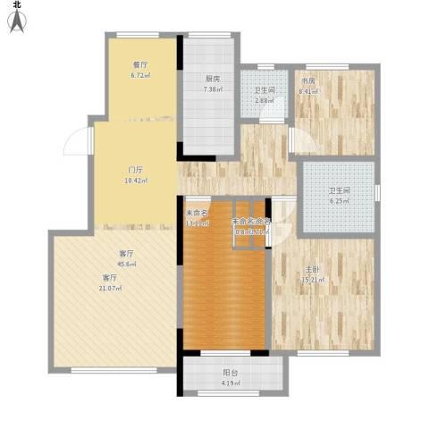 欧洲城枫丹白露2室1厅2卫1厨147.00㎡户型图