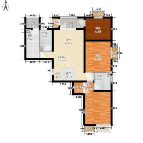 荔隆观邸3室1厅2卫1厨130.00㎡户型图