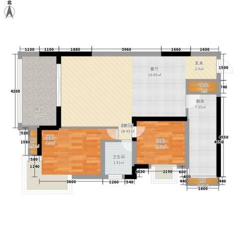 南源居2室0厅1卫1厨74.00㎡户型图