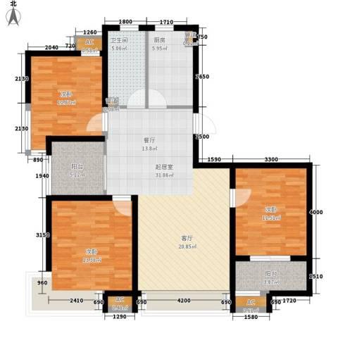 长安信合小区3室0厅1卫1厨129.00㎡户型图