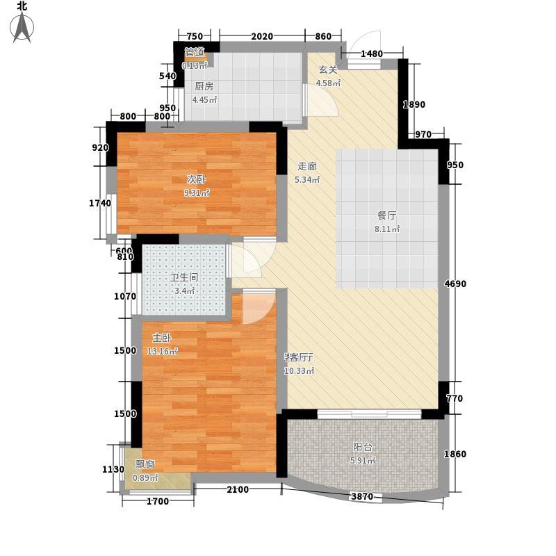 丽华苑B户型2室2厅1卫1厨