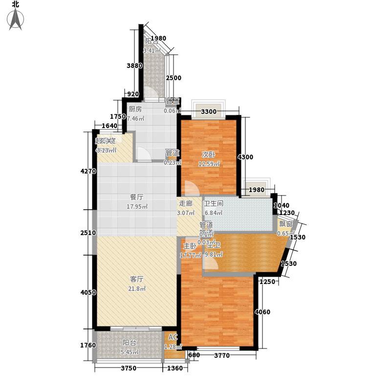 世茂外滩新城125.00㎡2#楼户型单页D1户型2室2厅2卫1厨