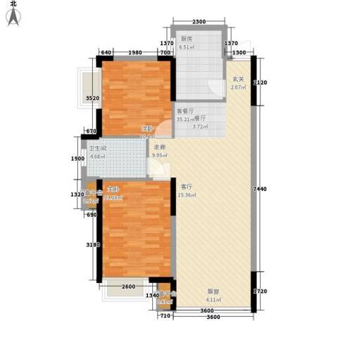 印象江南2室1厅1卫1厨95.00㎡户型图