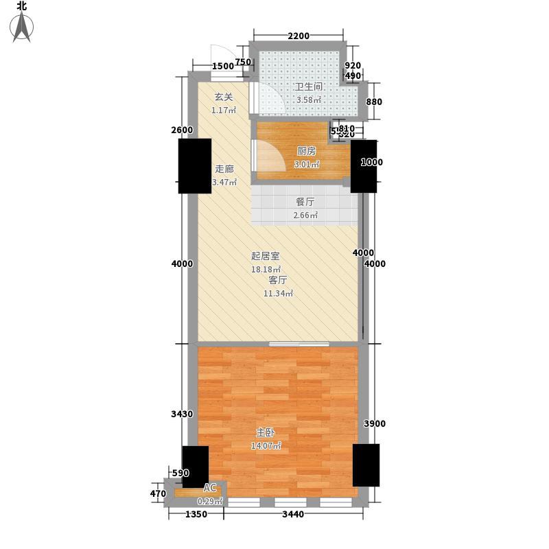 万和新城广场60.00㎡万和新城广场户型图U31室1厅1卫1厨户型1室1厅1卫1厨