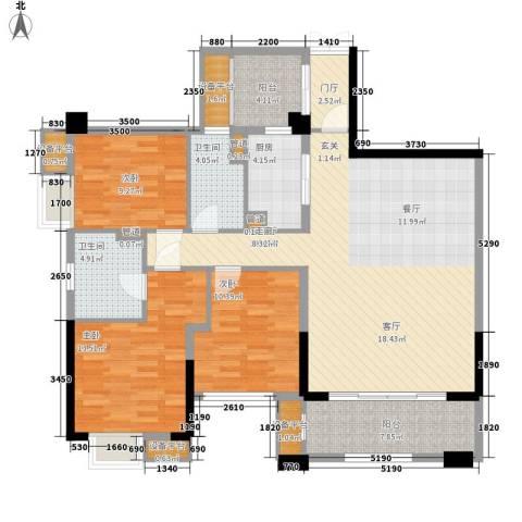 泰然环球时代中心3室1厅2卫1厨150.00㎡户型图