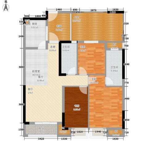 天阳云筑3室0厅2卫1厨120.00㎡户型图