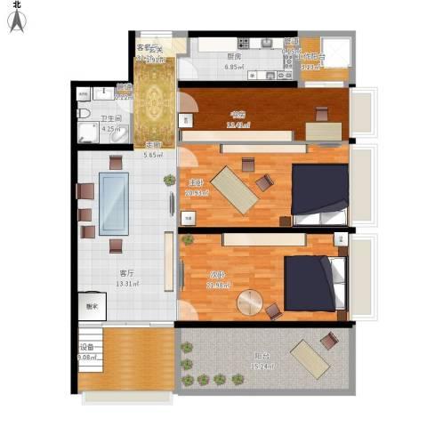 中城大厦3室1厅1卫1厨179.00㎡户型图