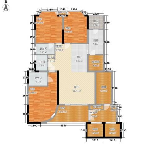 世纪绿洲二期3室1厅3卫1厨230.00㎡户型图