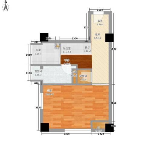 发展今日嘉园1室0厅1卫1厨64.00㎡户型图