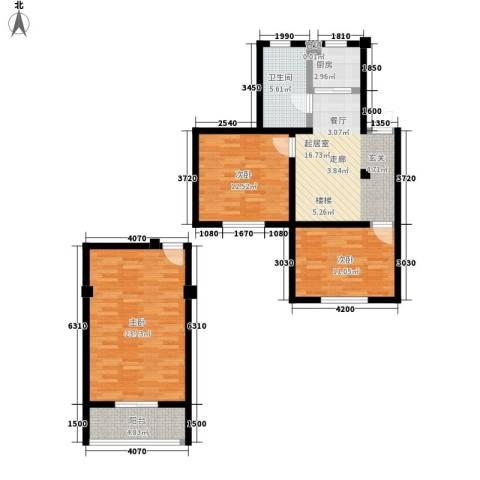 爱丽舍3室0厅1卫1厨91.00㎡户型图