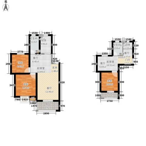 爱丽舍3室0厅2卫2厨85.00㎡户型图