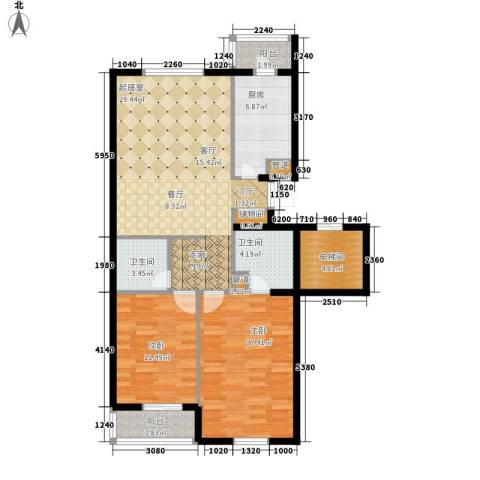 兰亭园2室0厅2卫1厨83.56㎡户型图