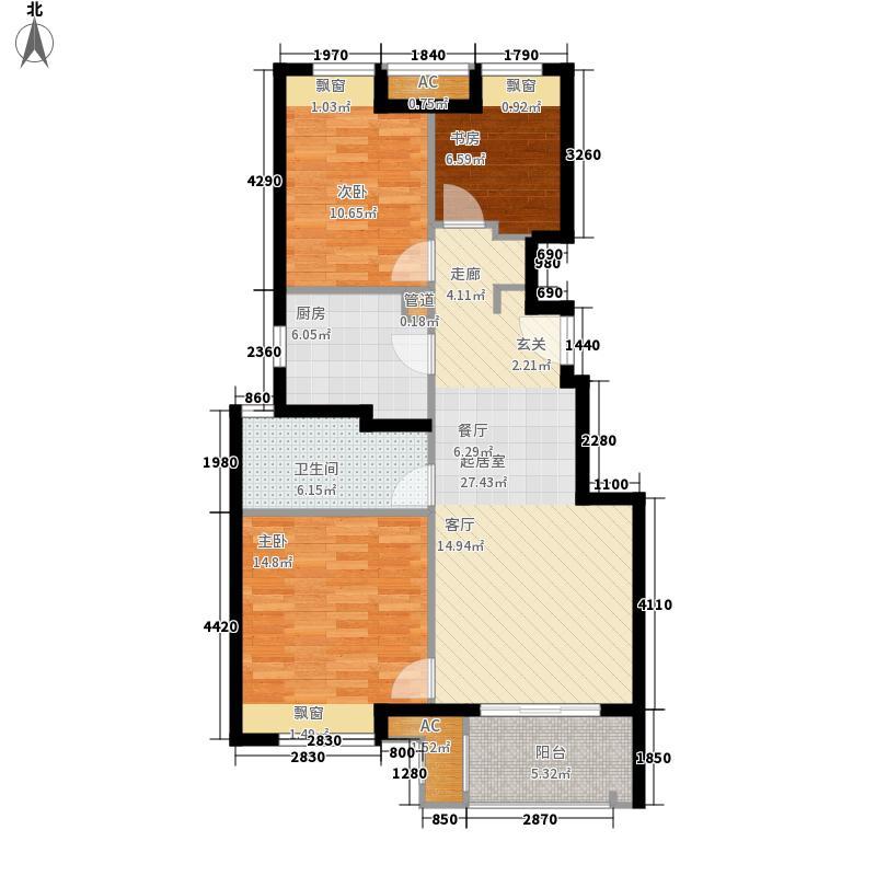 万科悦城90.00㎡万科悦城户型图90平3房户型图3室2厅1卫1厨户型3室2厅1卫1厨