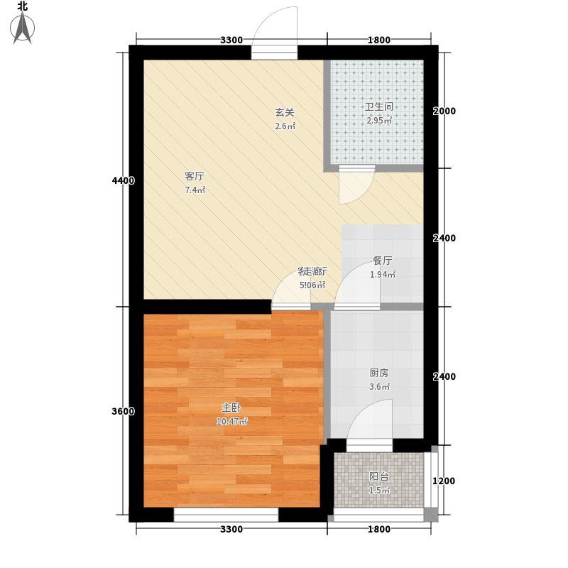 宏庭伟岸54.16㎡宏庭伟岸户型图1室2厅1卫户型10室