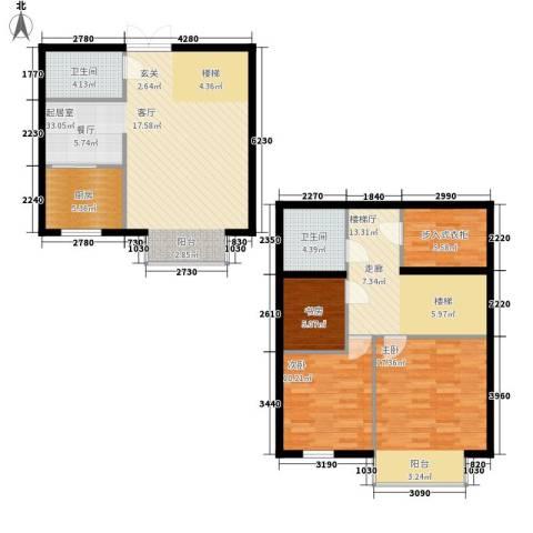 鼎盛国际3室0厅2卫1厨98.46㎡户型图