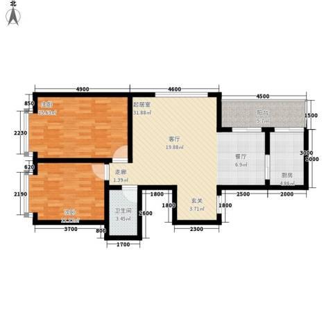 中水金海嘉苑2室0厅1卫1厨102.00㎡户型图