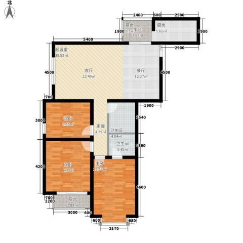 中水金海嘉苑3室0厅2卫1厨136.00㎡户型图