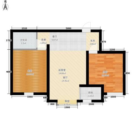 鼎盛国际2室0厅1卫1厨86.00㎡户型图