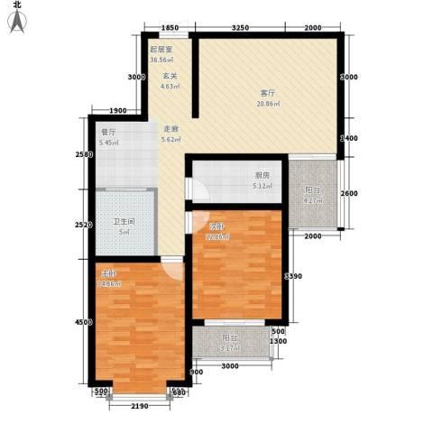 中水金海嘉苑2室0厅1卫1厨115.00㎡户型图
