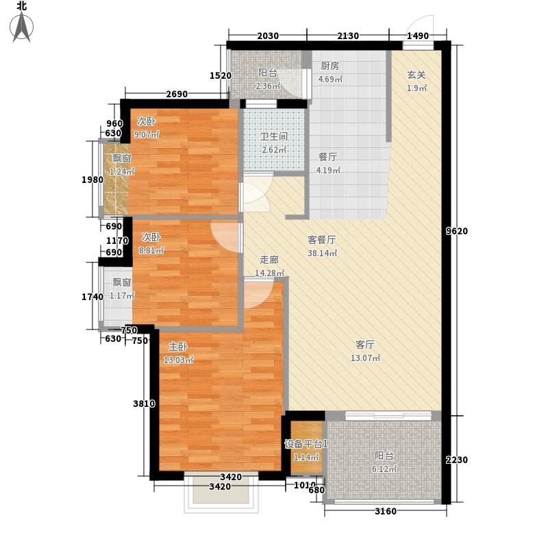中南・锦绣花园88.40㎡J户型2室2厅2卫1厨