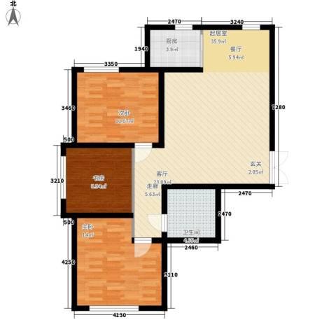鼎盛国际3室0厅1卫1厨101.00㎡户型图