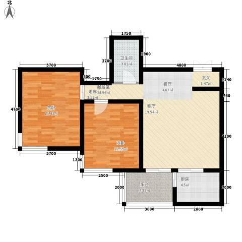中水金海嘉苑2室0厅1卫1厨101.00㎡户型图