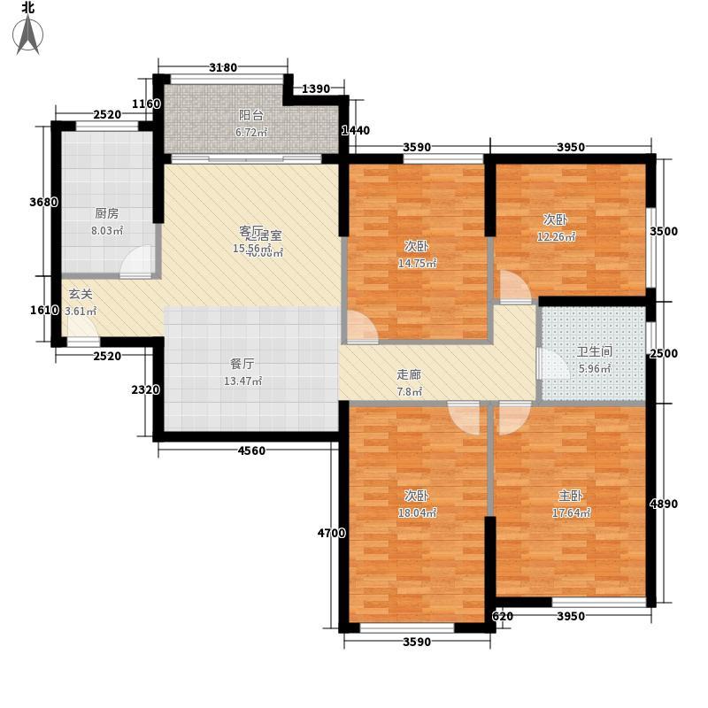 熙悦春天137.70㎡2#、3#楼C户型3室2厅1卫1厨