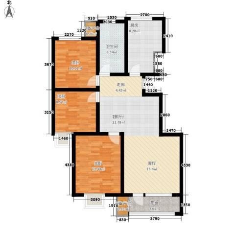 康城・瑞河兰乔3室1厅1卫1厨122.00㎡户型图