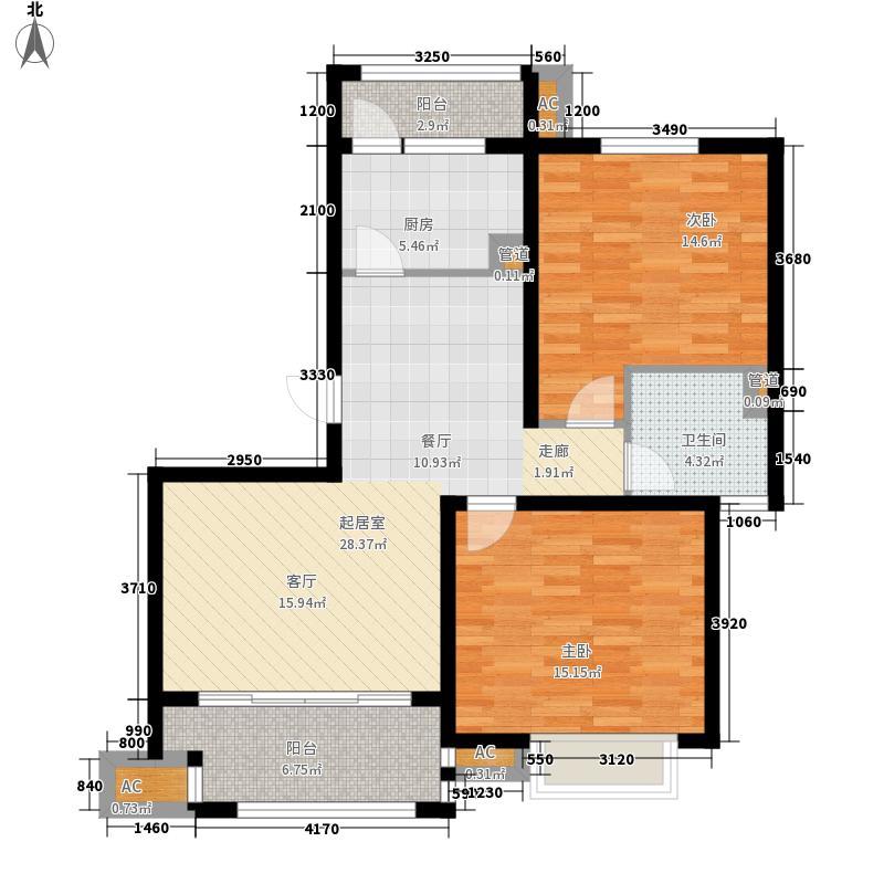 广陵世家户型图8、12、13号楼D1户型 2室2厅1卫