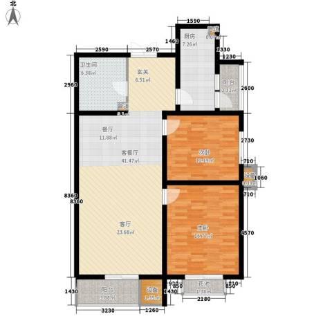 君悦府2室1厅1卫1厨107.00㎡户型图