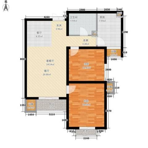 君悦府2室1厅1卫1厨96.00㎡户型图