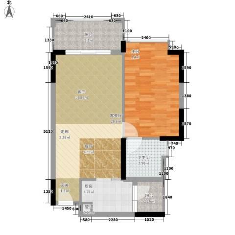 雅居乐城南源著1室1厅1卫0厨61.00㎡户型图