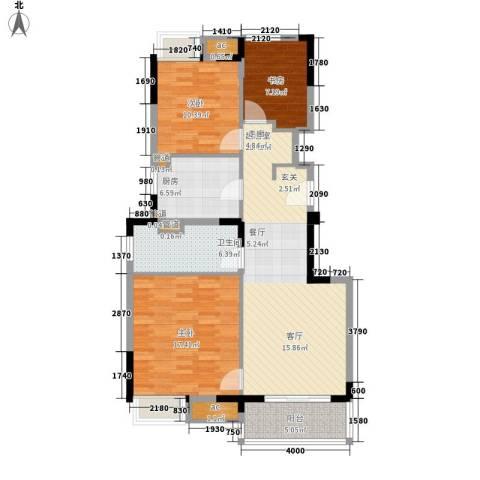 万科金域广场3室0厅1卫1厨95.00㎡户型图