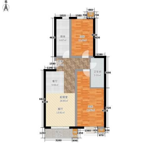 天恒嘉俪家园2室0厅1卫1厨86.00㎡户型图