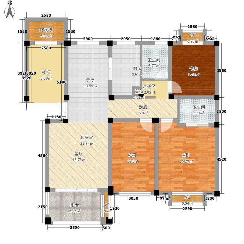 正元香槟城115.60㎡一期2号楼D户型3室2厅2卫1厨