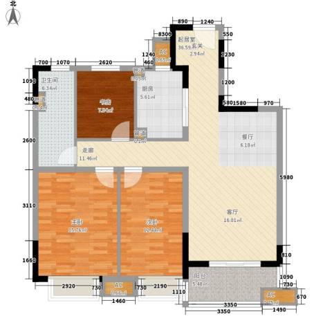 万科金域广场3室0厅1卫1厨105.00㎡户型图