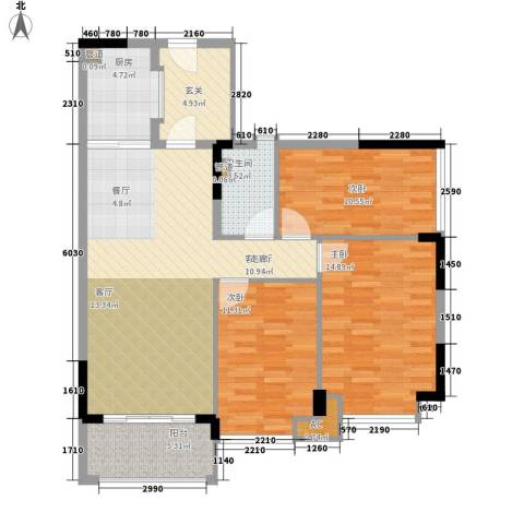 雅居乐城南源著3室1厅1卫1厨97.00㎡户型图