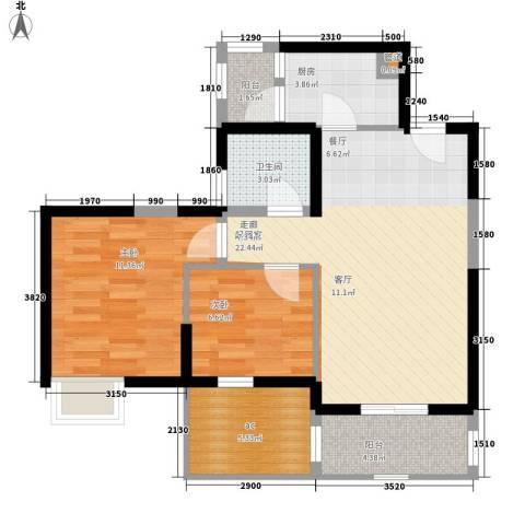 中惠沁林山庄2室0厅1卫1厨78.00㎡户型图