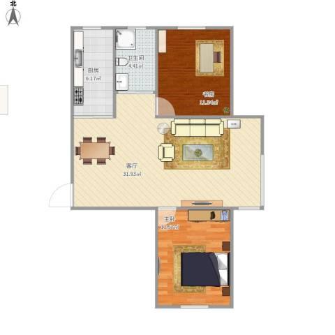 佳和雅庭2室1厅1卫1厨89.00㎡户型图