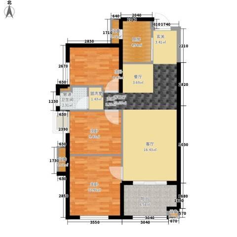 万科广场3室1厅1卫1厨90.00㎡户型图