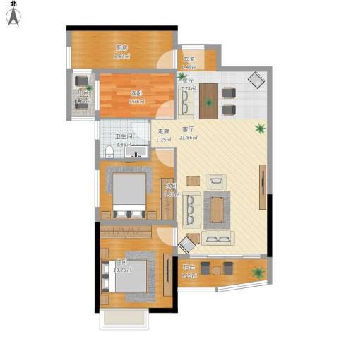 华景新城陶然庭苑3室1厅1卫1厨102.00㎡户型图