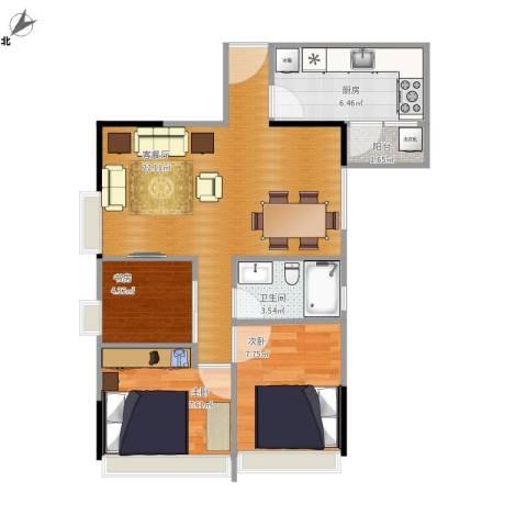 华景新城六期3室1厅1卫1厨73.00㎡户型图