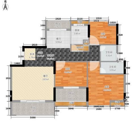 联泰香域中央3室1厅2卫1厨118.00㎡户型图