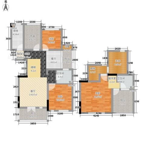 绿地世纪城3室1厅2卫1厨130.00㎡户型图