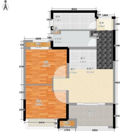 绿地世纪城2室1厅1卫1厨96.00㎡户型图
