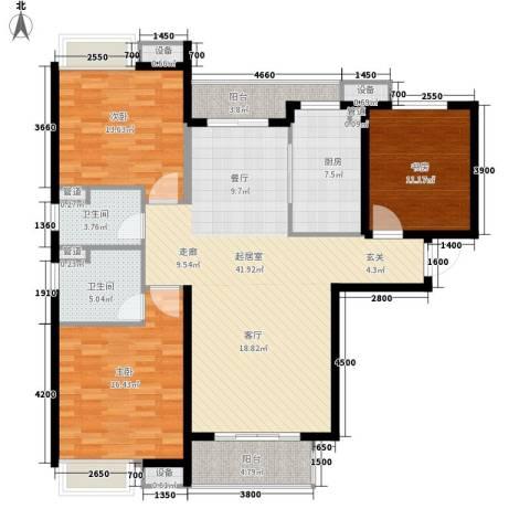 无锡惠山万达广场3室0厅2卫1厨128.00㎡户型图