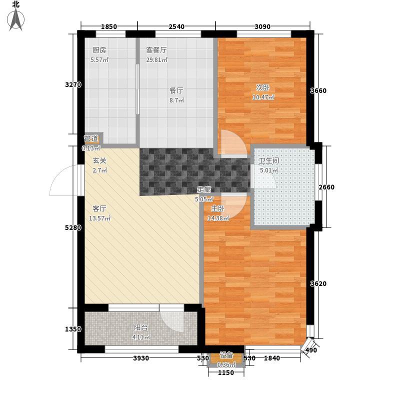 远洋自然102.00㎡远洋自然户型图11号楼A户型2室2厅1卫1厨户型2室2厅1卫1厨