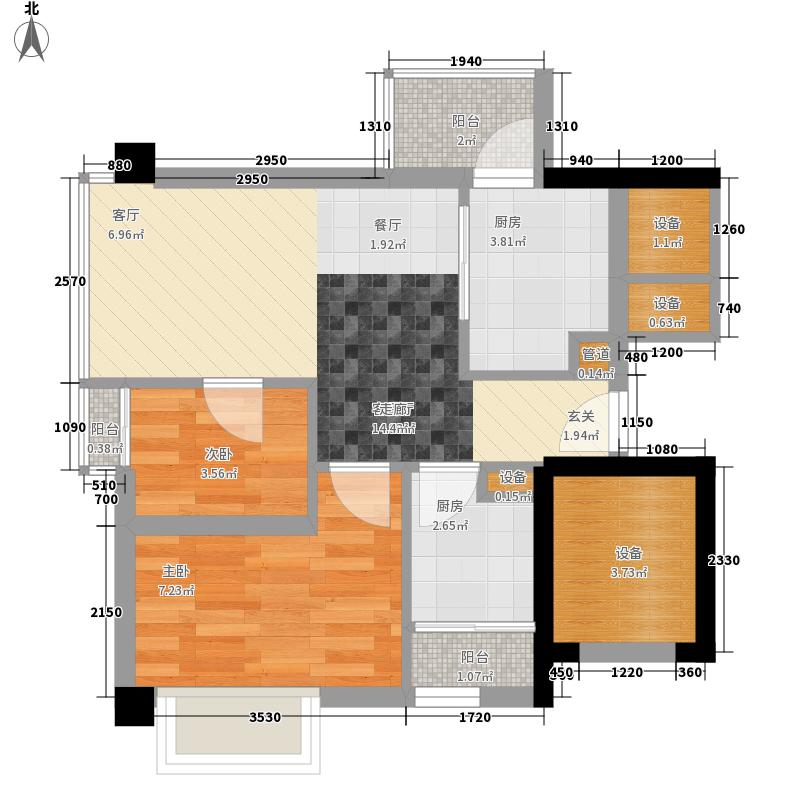 尚领时代52.11㎡D02单元2室面积5211m户型